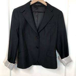 theory black wool blend sleek blazer 10